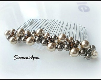 Bridal hair comb Swarovski pearls crystals Champagne Brown Topaz Cluster Beaded Silver comb Wedding hair accessories Bridal head piece