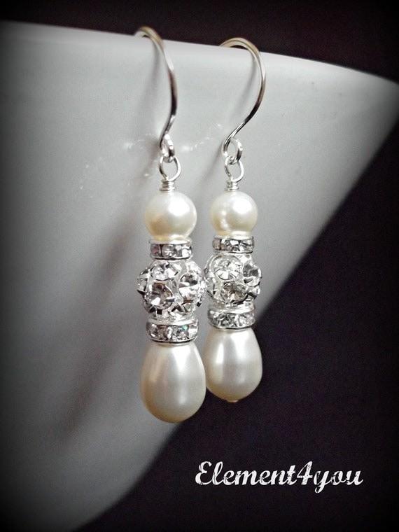 Bridal pearl rhinestone earrings White or ivory pearls Dangle Silver Wedding earrings Bridesmaid earrings Jewellery Bridal party gift Pearl
