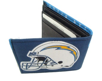 NFL  Football San Diego Chargers Men's Wallet  Cotton Fabric Hand Made Wallet, NEW, RARE