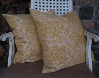 Gold Damask Pillow Cover