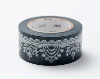 ON SALE - MT ex 2012 Autumn Japanese Washi Masking Tape / White Lace on Black 22mm for party deco, invitation, envelope seal