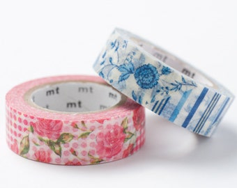 MT ex 2012 -Japanese Washi Masking Tapes / Red or Blue Flowers for Packaging, Invitations, Announcements, Scrapbooking