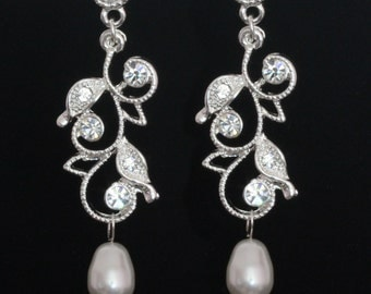 Bridal Earrings Swarovski pearls Rhinestone Wedding  - Karen - ready to ship