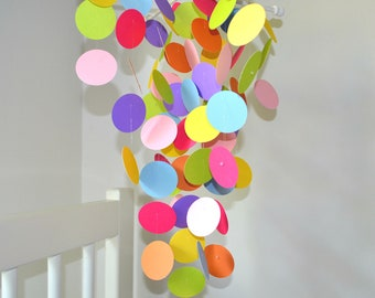 Baby Mobile in Pink, Blue, Green Yellow, Purple and Orange, OR pick your own colors to fit in your nursery