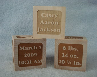 BIRTH ANNOUNCEMENT - Set of 3 Personalized Baby Keepsake Blocks - Set of 3 Identical Blocks
