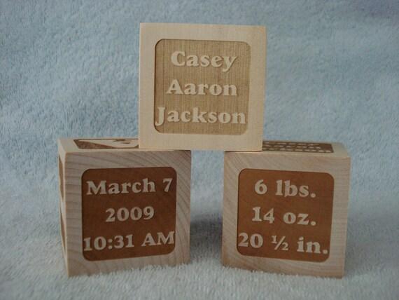 3 Personalized Baby Keepsake Blocks - Set of 3 Identical Blocks