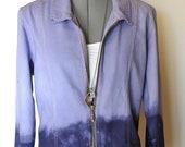 Lilac XL Denim JACKET - Lavender Violet Navy Purple Dyed Ombre Christopher Banks Denim Jacket - Adult Women Extra Large Plus (46 chest)