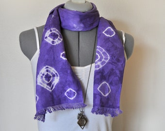 Linen SCARF - Violet Purple Grape Hand Dyed Tie Dye Hand Made Linen Scarf #11 - 8 x50""