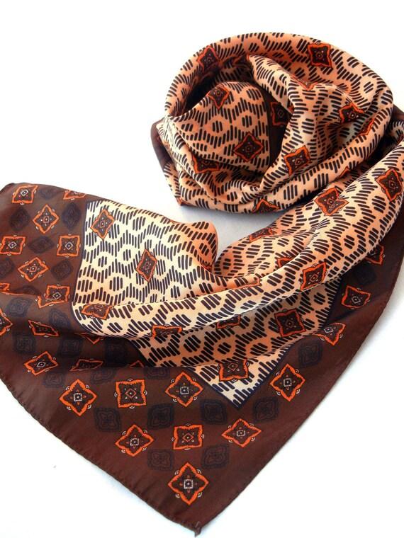 Brown Southwestern Print Scarf, Indian Blanket Motif in Tan, Orange, Chocolate