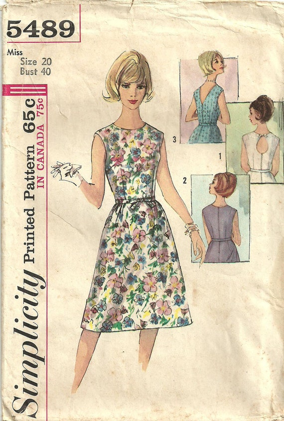 Simplicity 5489 Vintage Sixties Sewing Pattern