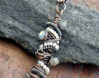 Tangled Pendant, Copper, Silver, Magnesite Turquoise, seed Pearls, and Labradorite, ThePurpleLilyDesigns