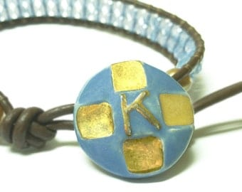 Beaded Wrap Bracelet with K Initial Clasp and Swarovski Crystals in Cornflower Blue Shade Ceramic button clasp Blue and gold