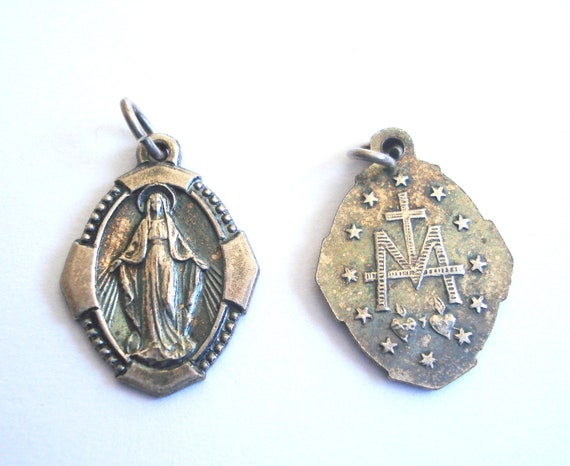Vintage Silver Miraculous Medal with Ornate Border