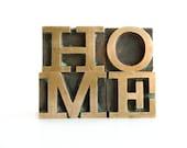 Brass Letterpress Type HOME