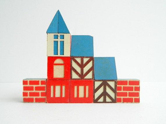 Scandinavian cottage style house wood building blocks 12 pieces