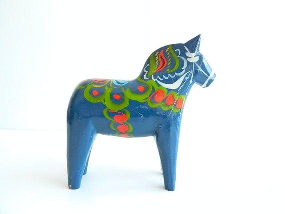 extra large blue swedish dala horse Nils Olsson