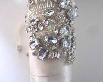 Nelia Bridal Bouquet Jewelry Rhinestone Brooch Beaded Embellishment Wrap #2