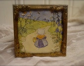 Vintage Framed Kitty Photo - Metal Ornate Frame Petite Collectible