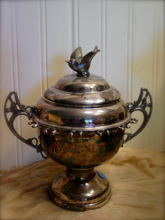 Vintage Silver Spooner - Victorian Style - Collectible Sugar Bowl - Great Patina