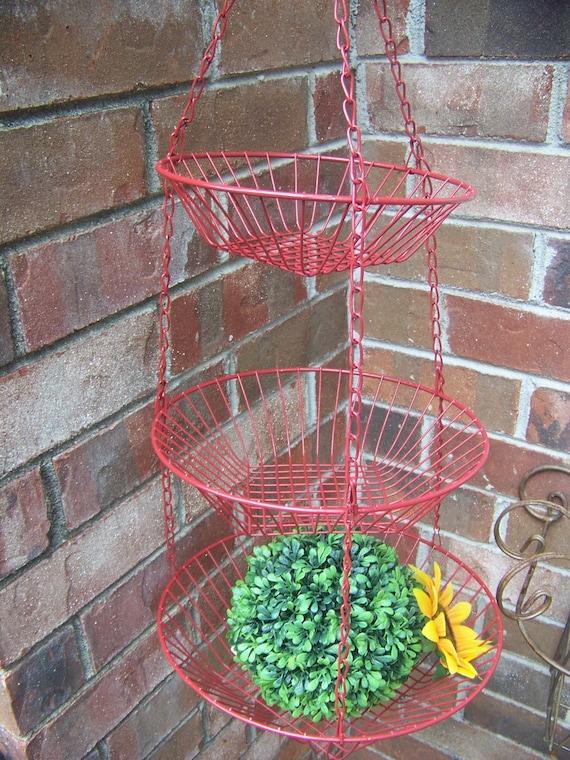 Vintage 3 Tier Red Upcylced Wire Basket