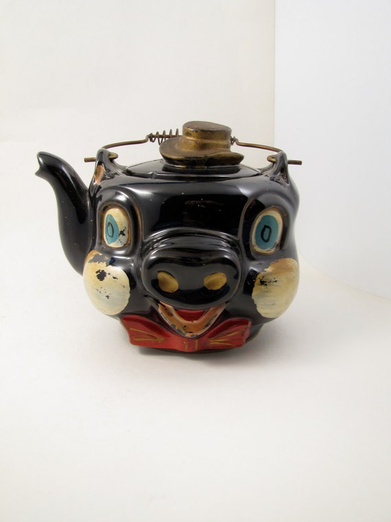 Vintage Hand Painted Ceramic Tilso Pig Teapot Made In By
