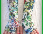 Fingerless long  gloves  with pattern, cotton, vintage, stempunk