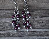 Plum shaggy loops dangle earrings