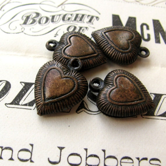 Dark heart charm - LAST THREE - aged patina antiqued brass (3 charms) puffy hollow heart, oxidized finish