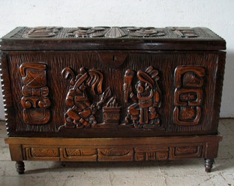 MOD-SALE! Vintage Antique Trunk Hope Chest Witco Style Blanket Chest trunk Exotic Carved Storage Trunk hope chest
