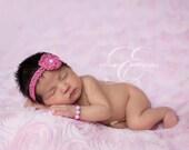 Newborn Baby Crocheted Headband and Bracelet Set