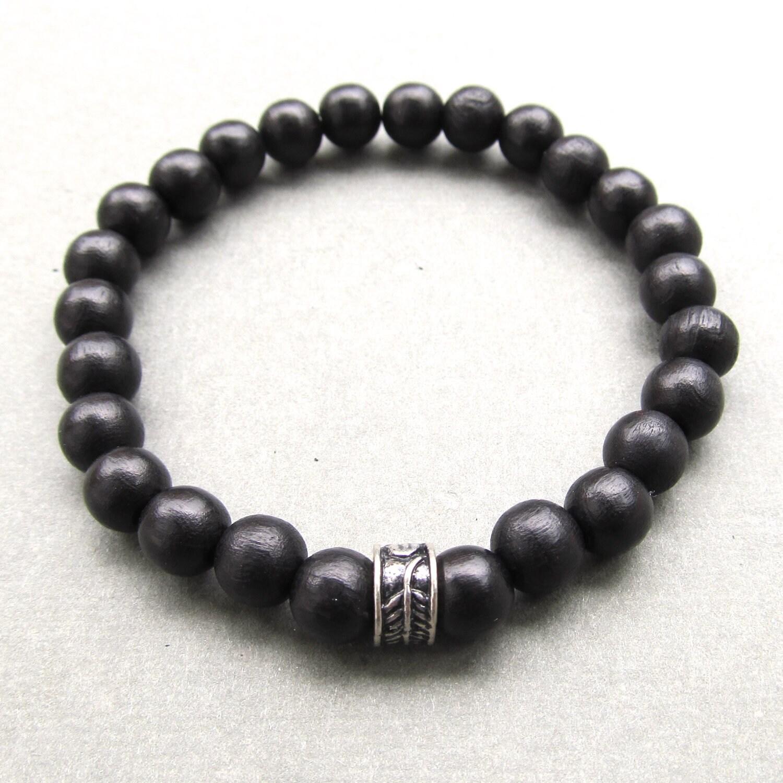 mens black wooden beaded stretch bracelet with tibetan style. Black Bedroom Furniture Sets. Home Design Ideas