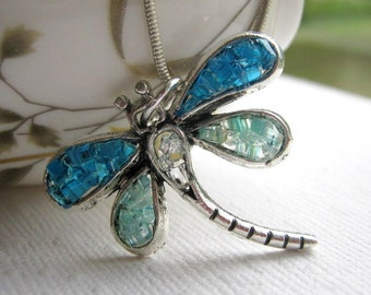 Blue Stained Glass Dragonfly Jewelry Necklace
