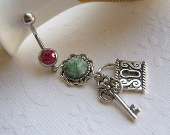 Lock and Key, Belly Button Ring,  Belly Button Jewelry, Navel Jewelry, Navel Barbell