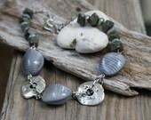 Silver Lining Earthy Chic Necklace - Greek Mykonos - Czech Glass - Modern Bohemian Jewelry by YaY Jewelry