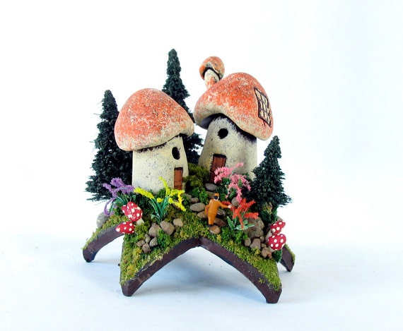 The Homecoming - Traveler to a Fairy World Upon a Star - Miniature Mushroom Houses, Trees and Flowering Bushes by Bewilder and Pine