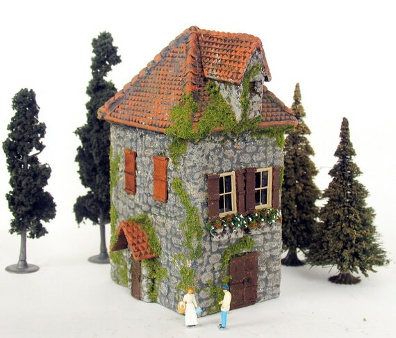 The Country Village -  Handmade Stone Blockhouse - HO Scale Miniature Building by Bewilder and Pine
