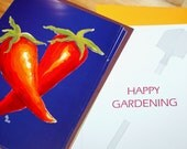 Bold hot pepper greeting gift card, jalapeno seeds, and beaded garden marker, protected in plastic and ready to send