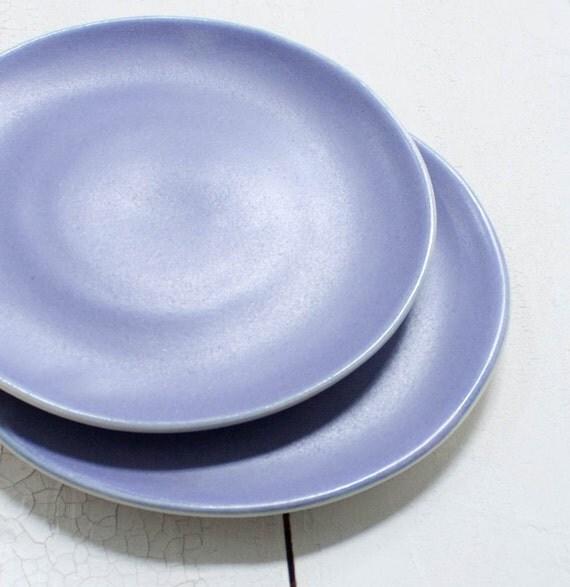 Two Matte Violet Porcelain Tiny Plates