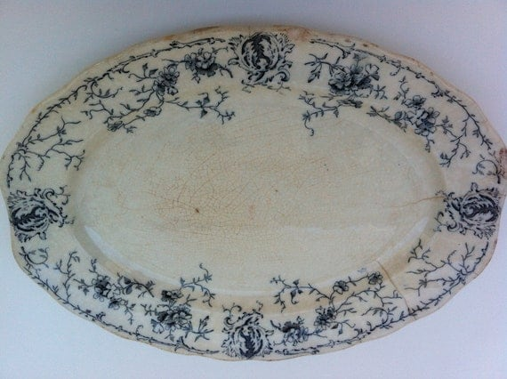 Antique Blue & White Ironstone Platter