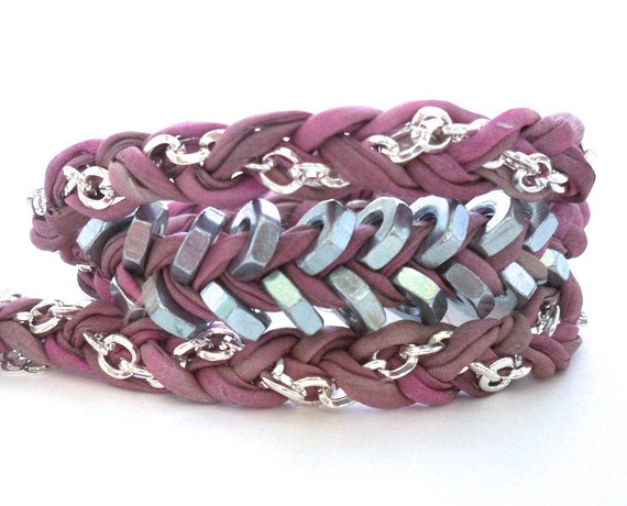 20% off HOLIDAY SALE - Triple Wrap Raspberry Rolled Silk Braided Chevron Bracelet with Stainless Steel Hex Nuts and Silver Plated Chain
