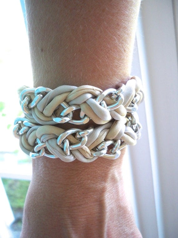 Double Wrap Taupe and Silver Hand Dyed Rolled Silk Braided Chevron Bracelet with Curb Link Chain ... by  B A L O O S