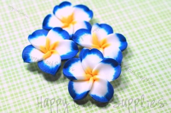 Large Dark Blue, White and Yellow Polymer Clay Plumeria Frangipani Flower Beads... 4pcs