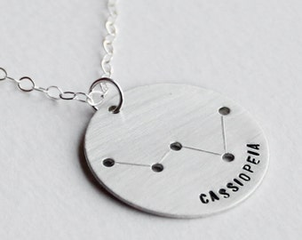 Cassiopeia Constellation Necklace - Constellation Jewelry, Cassiopeia Necklace, Sterling Silver