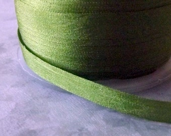 Silk Olive Silk Ribbon 1/4 inch 2 Yards 100% Silk
