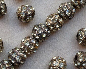 10 mm Vintage Rhinestone Beads Gold Toned Pot Metal 4, 8 or 15 Pieces
