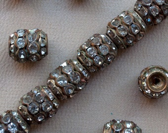 10 X 12 mm Vintage Barrel Beads Long Rhinestone Brass 10 Pieces