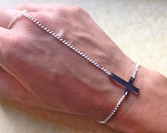 Tiny dark inverted upside down cross charm bracelet with silver chain slave chain bracelet ring handpiece