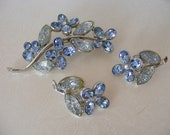 RESERVED - Vintage Blue Flower Pin and Earrings Set - CHAREL