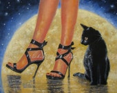 Moon Glow Art Print, fashion,full moon black cat paintings sexy legs, sexy shoes, high heels halloween, fall, autumn, Vickie Wade art