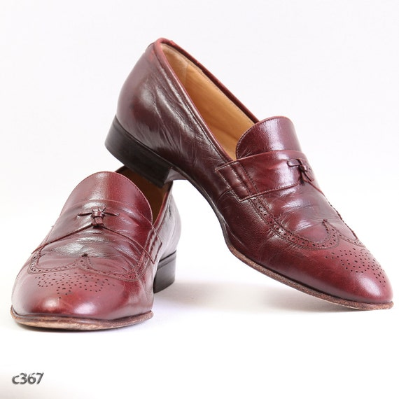 Vintage Mens Brogues / Burgundy Red Dandy Shoes / sz EUR 41 / USA mens 8